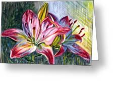 Lilies Twin Greeting Card