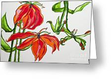 Lilies In Orange Greeting Card