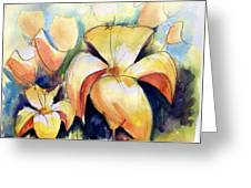 Lillys With Birds Greeting Card