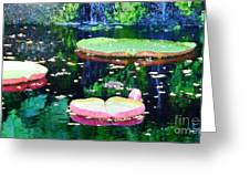 Lily Leaves Painterly  Greeting Card