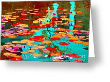Lily Pads And Koi Colorful Water Garden In Bloom Waterlilies At The Lake Quebec Art Carole Spandau  Greeting Card