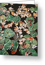 Lily Pads And Leaves Greeting Card by Anthony Mezza