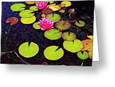 Lily Pads With Pink Flowers - Square Greeting Card