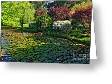 Lily Pond And Colorful Gardens Greeting Card