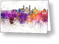 Limassol Skyline In Watercolor Background Greeting Card