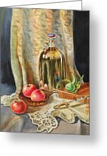 Lime And Apples Still Life Greeting Card by Irina Sztukowski