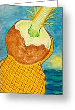 Lime Coconut Pineapple Guitar Greeting Card
