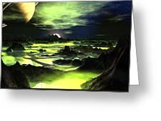 Lime Green Alien Landscape Greeting Card