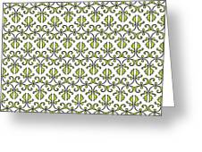 Lime Green And White Vines Greeting Card