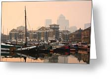 Limehouse Basin In London. Greeting Card