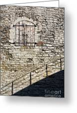 Limestone Wall With Door And Shadow Greeting Card
