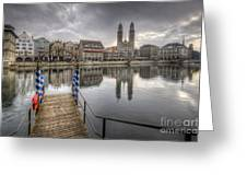 Limmat River Reflections Greeting Card