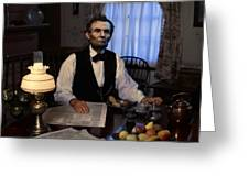 Lincoln At Breakfast 2 Greeting Card by Ray Downing