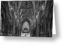 Lincoln Cathedral Nave Greeting Card by Ian Barber