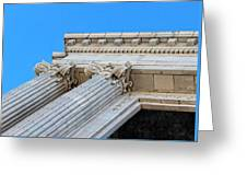 Lincoln County Courthouse Columns Looking Up 01 Greeting Card