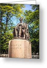 Lincoln Head Of State Statue In Chicago Greeting Card