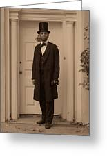 Lincoln Leaving A Building Greeting Card