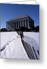 Lincoln Memorial In The Snow Greeting Card