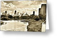 Lincoln Park View Sepia Greeting Card
