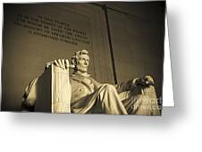 Lincoln Statue In The Lincoln Memorial Greeting Card