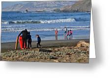 Linda Mar Beach Families Greeting Card