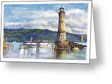 Lindau Light And Harbour Greeting Card