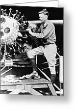 Lindbergh Tunes Up Plane Greeting Card