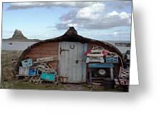 Lindisfarne Boat House Holy Island Greeting Card