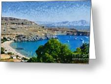 Lindos Beach Greeting Card