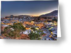 Lindos Village Ancient Skyline Rhodes Greece  Greeting Card