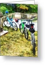 Line Of Bicycles In Park Greeting Card