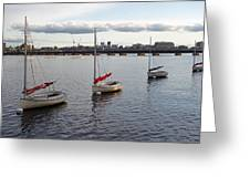 Line Of Boats On The Charles River Greeting Card
