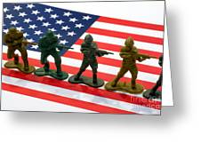 Line Of Toy Soldiers On American Flag Crisp Depth Of Field Greeting Card by Amy Cicconi