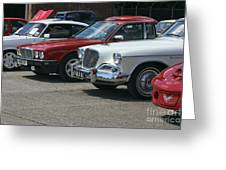 A Line Up Of Vintage Cars Greeting Card