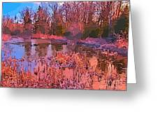 Linear Abstraction Of Pond Greeting Card