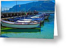 Lined Up Fleet In Sicily Greeting Card