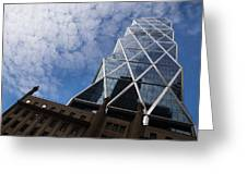 Lines Triangles And Cloud Puffs - Hearst Tower In New York City Greeting Card