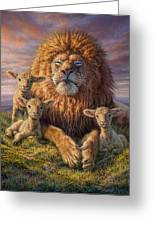 Lion And Lambs Greeting Card