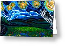 Lion And Owl On A Starry Night Greeting Card