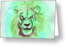 Lion Blue By Jrr Greeting Card