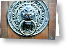 Lion Door Knocker In Norway Greeting Card