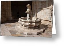 Lion Fountain Jeronimos Monastery In Lisbon Greeting Card