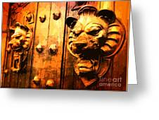 Lion Heads Gothic Door Greeting Card