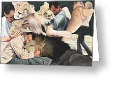 Lion Hugs Greeting Card