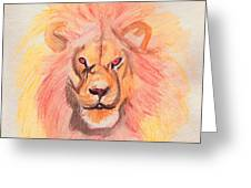 Lion Orange Greeting Card