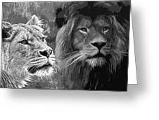 Lion Pair Black And White Greeting Card