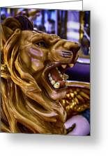 Lion Roaring Carrousel Ride Greeting Card