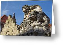 Lion Statue In Bruges Greeting Card
