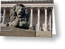 Lion Statue In Front Of St Georges Hall Liverpool Uk Greeting Card