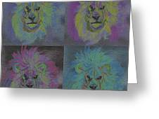 Lion X 4 Color  By Jrr Greeting Card